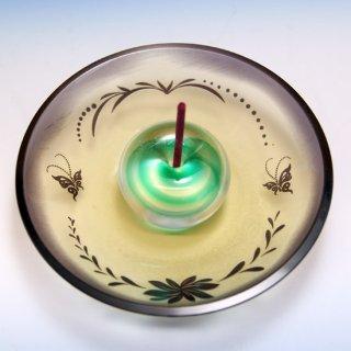 【香立て】被せガラスお香立て(紫・青)