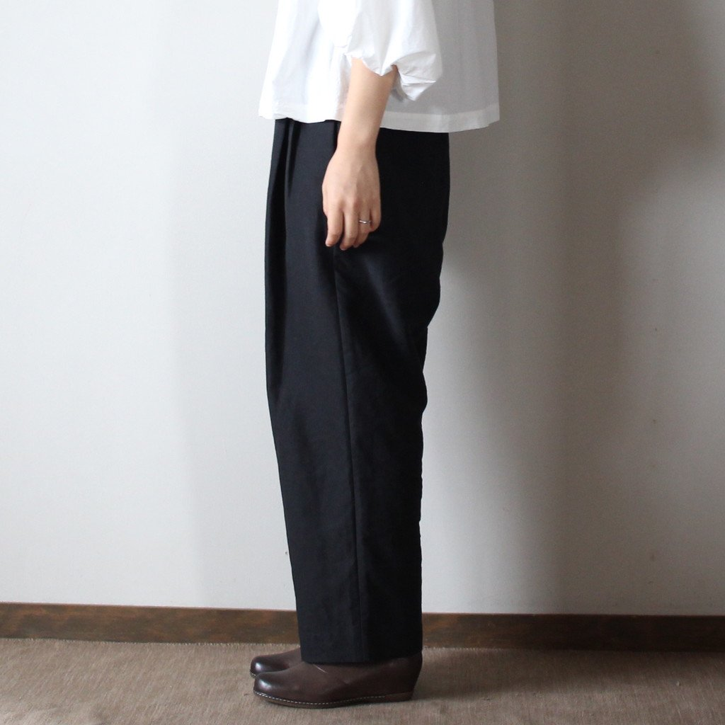 R&D.M.Co- OLDMAN'S TAILOR | オールドマンズテーラー 高密度LINEN WIDE TAPERED GOM PANTS #black