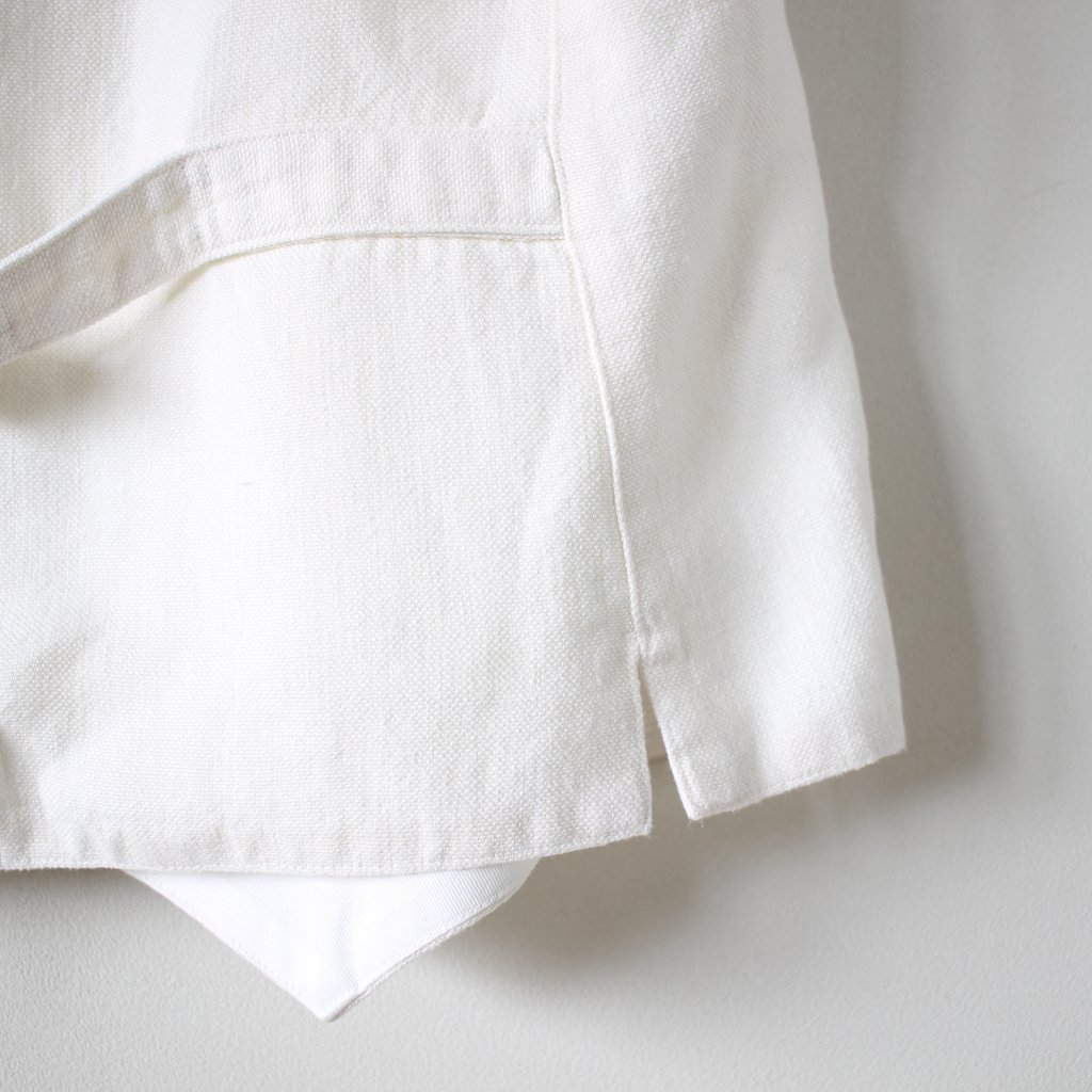 R&D.M.Co- OLDMAN'S TAILOR | オールドマンズテーラー CANVAS LINEN W BUTTON VEST #bleach white