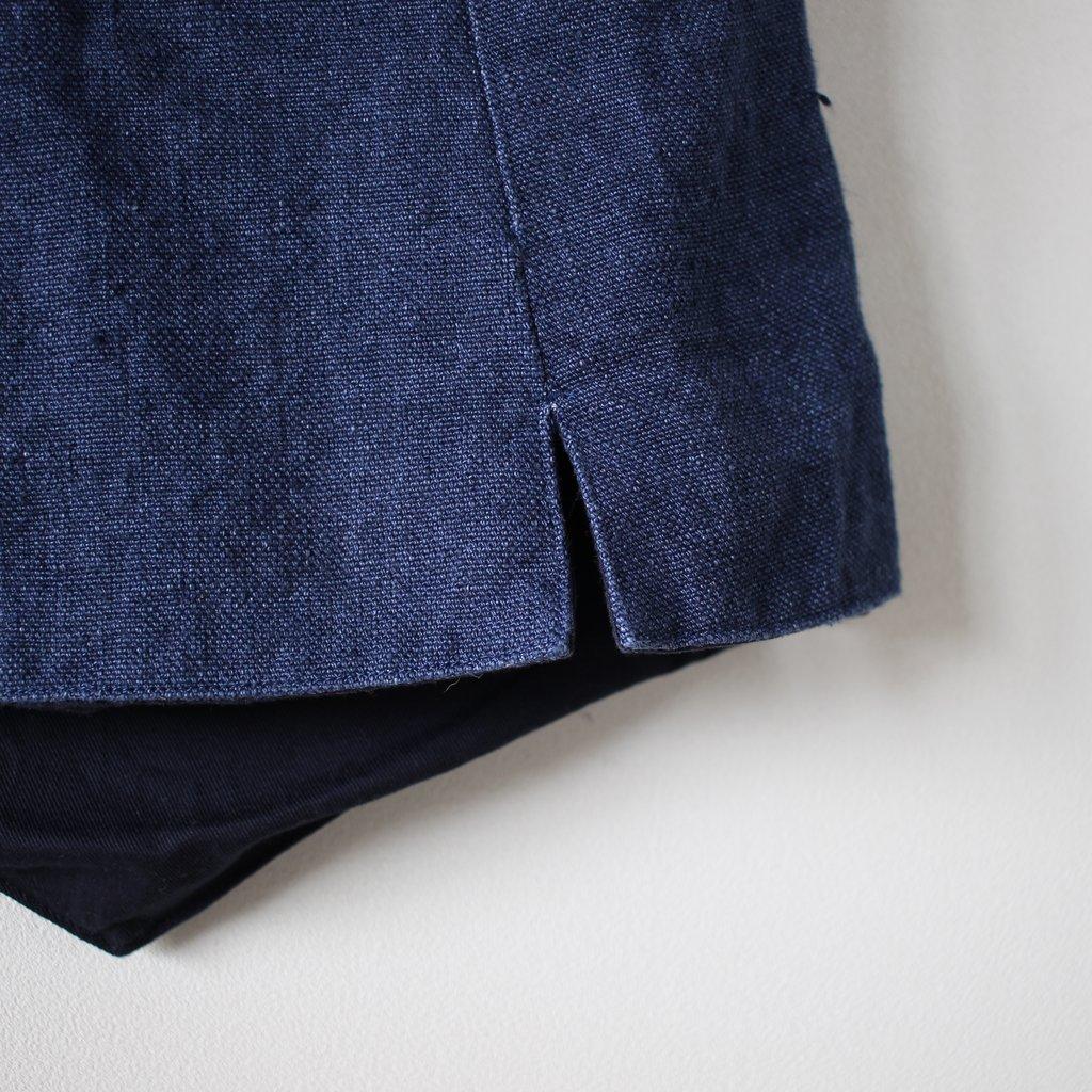R&D.M.Co- OLDMAN'S TAILOR | オールドマンズテーラー CANVAS LINEN W BUTTON VEST #vintage blue