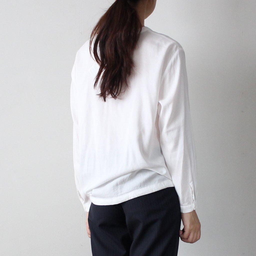BLUE BLUE JAPAN | ブルーブルージャパン レーヨンビエラウエストリボン プルオーバーシャツ #white