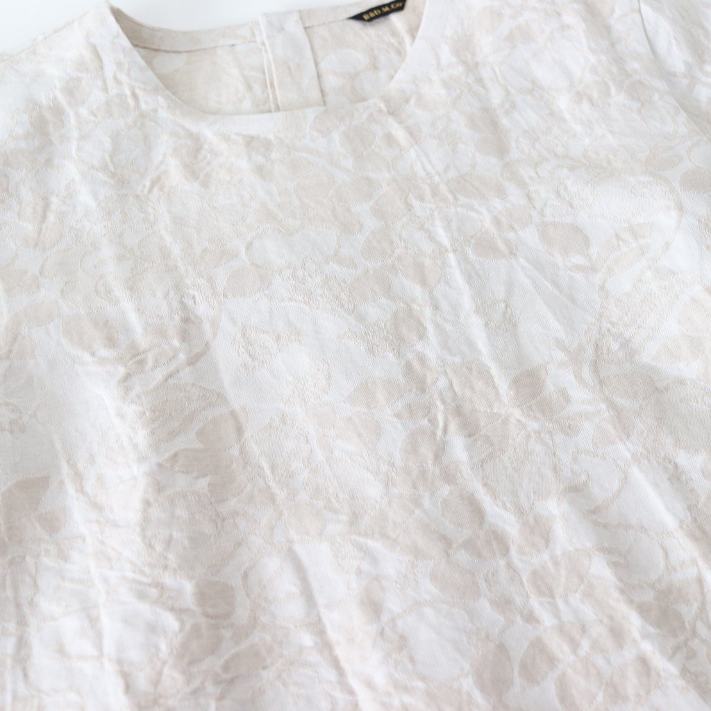 JACQUARD FABRIC GATHER BLOUSE #BEIGE [no.3004]