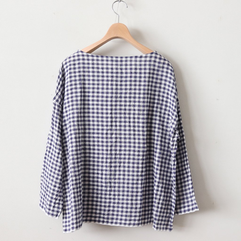 DENSELY GINGHAM CHECK BOAT NECK SHIRT #PURPLE [no.3154]