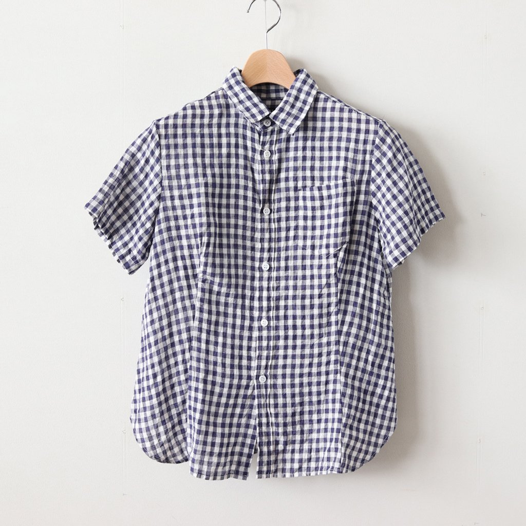 DENSELY GINGHAM CHECK HALF SLEEVE SHIRT #PURPLE [no.3153]