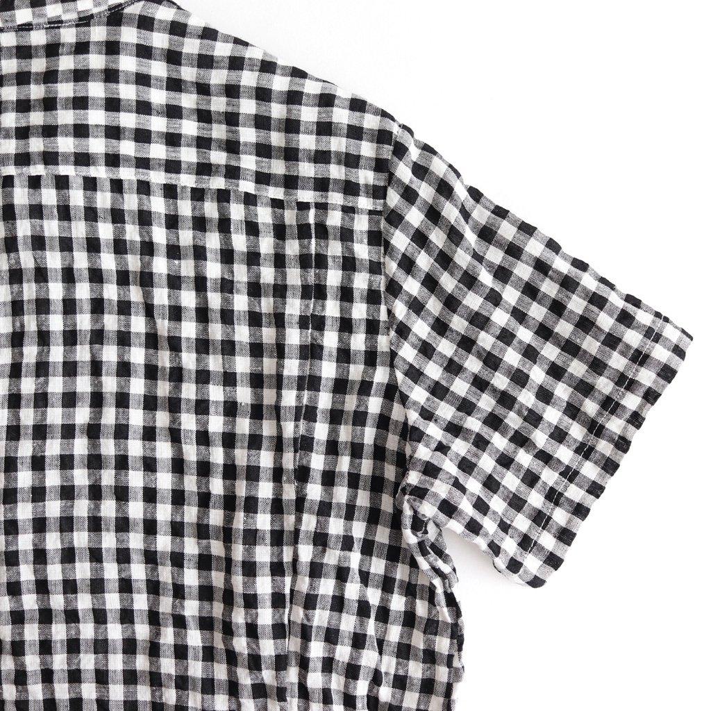 DENSELY GINGHAM CHECK HALF SLEEVE SHIRT #BLACK [no.3153]
