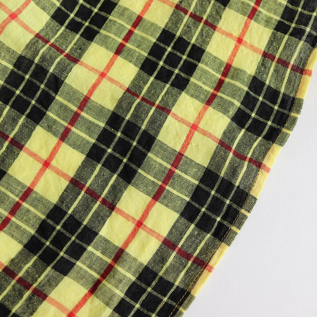 LINEN TARTAN CHECK APRON #YELLOW LEWIS [no.3378]