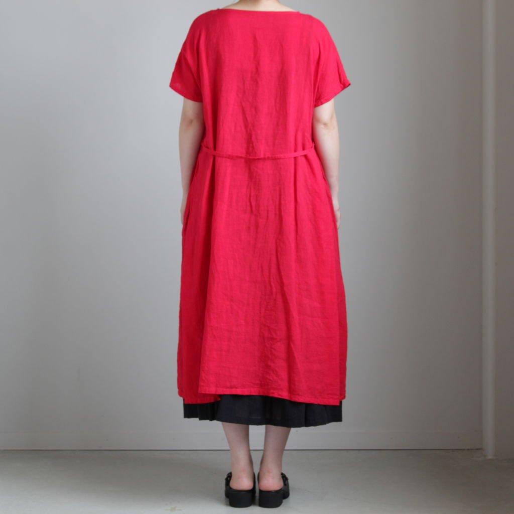 製品染めリネンフレンチスリーブワンピース #RED [OP19214]