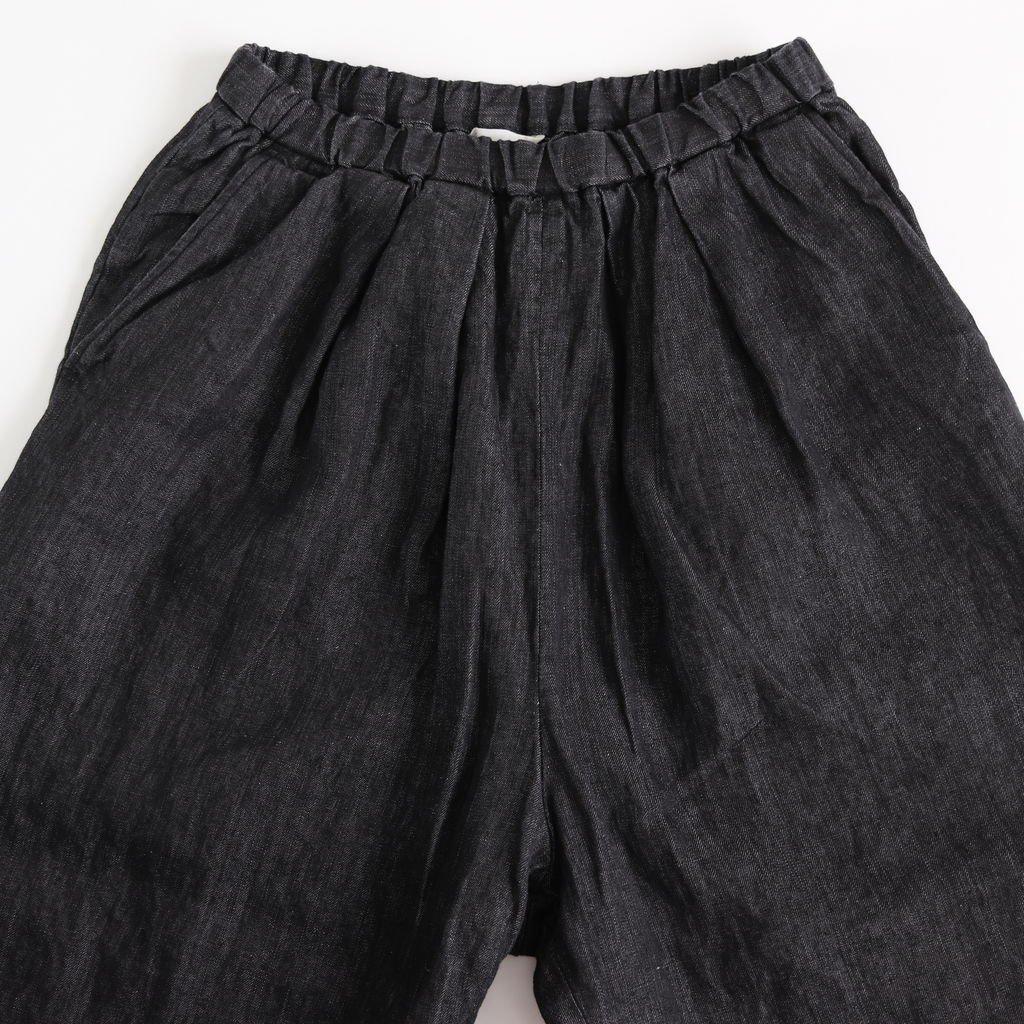 リネンデニムタックパンツ #INDIGO BLACK [191-539]