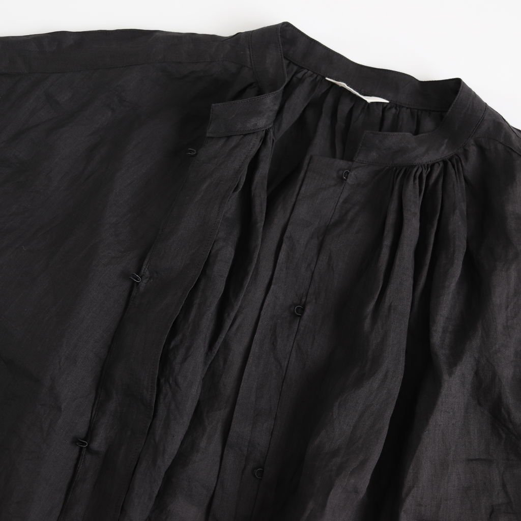 ラミースタンドカラーブラウス #BLACK [191-558]