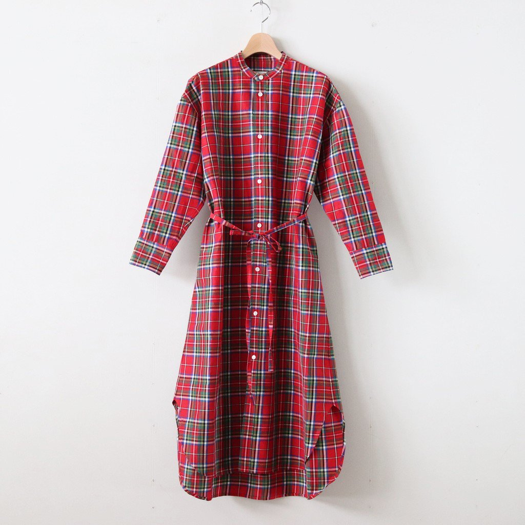 S/R STAND COLLAR LONG SHIRT #TARTAN CHECK RED [no.3550]