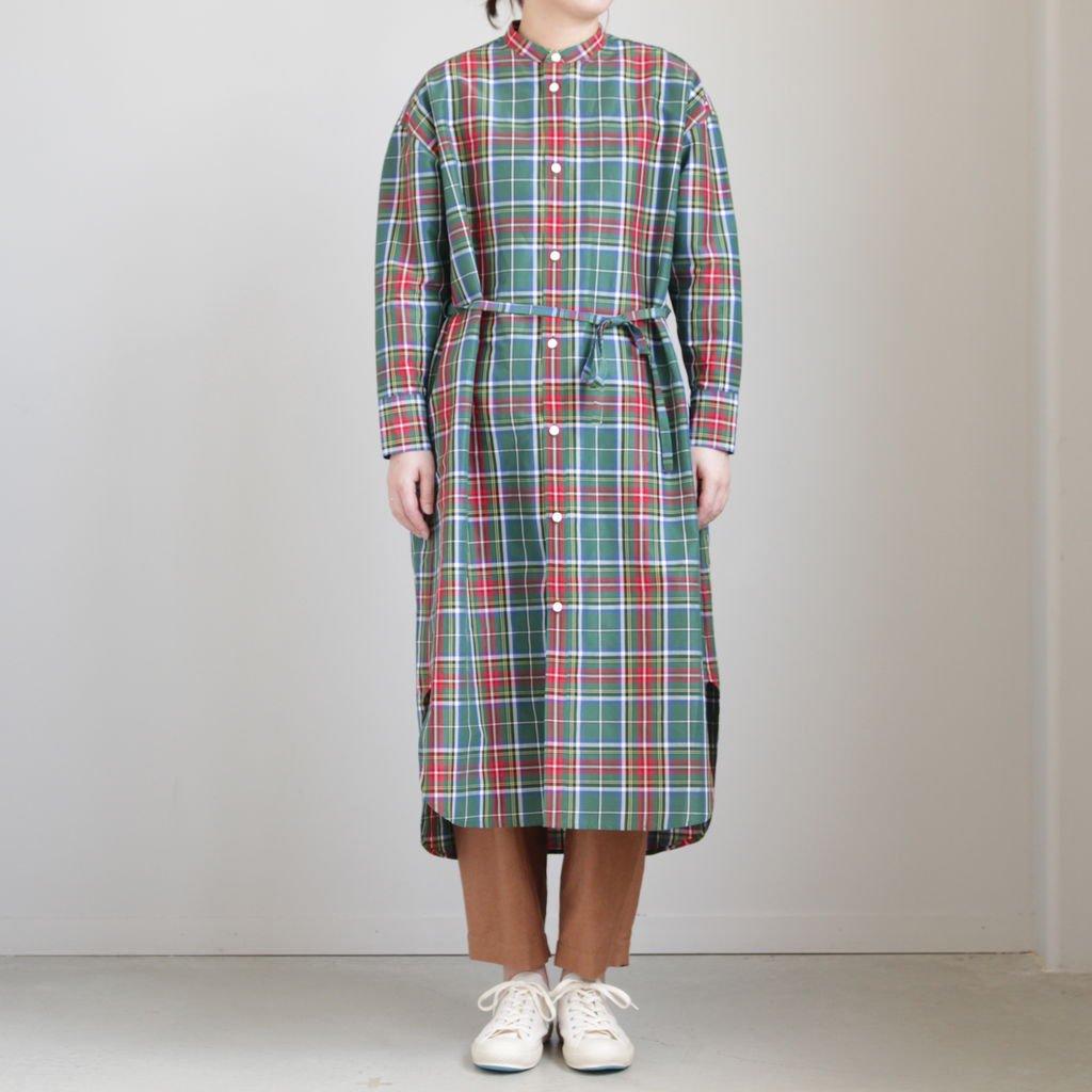 S/R STAND COLLAR LONG SHIRT #TARTAN CHECK GREEN [no.3550]