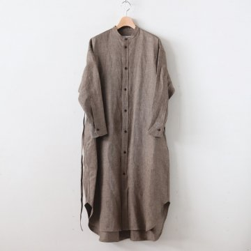 SHARK SKIN LINEN STAND COLLAR LONG SHIRT #OLD BROWN [no.3826] - R&D.M.Co- OLDMAN'S TAILOR | オールドマンズテーラー