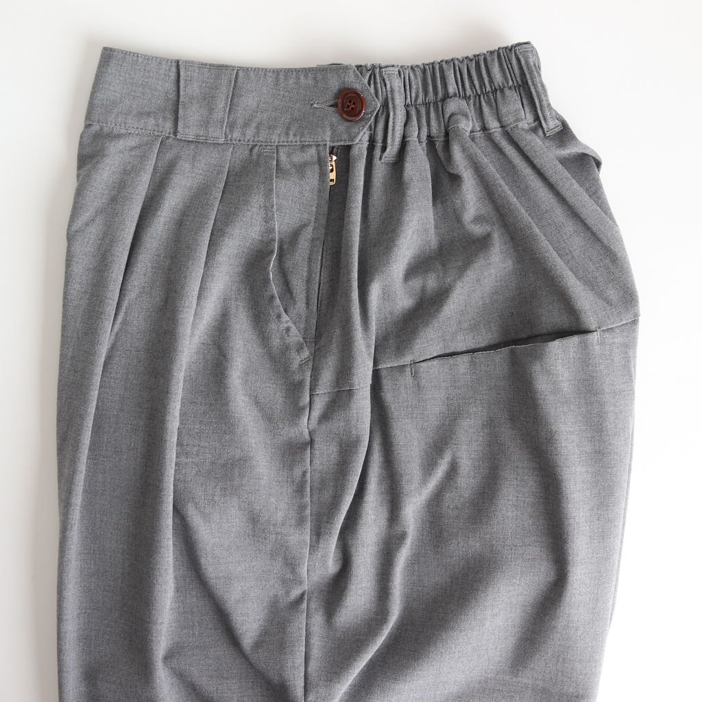 WIDE EGG CROPPED PANTS T/R TROPICAL #GRAY [A21502]