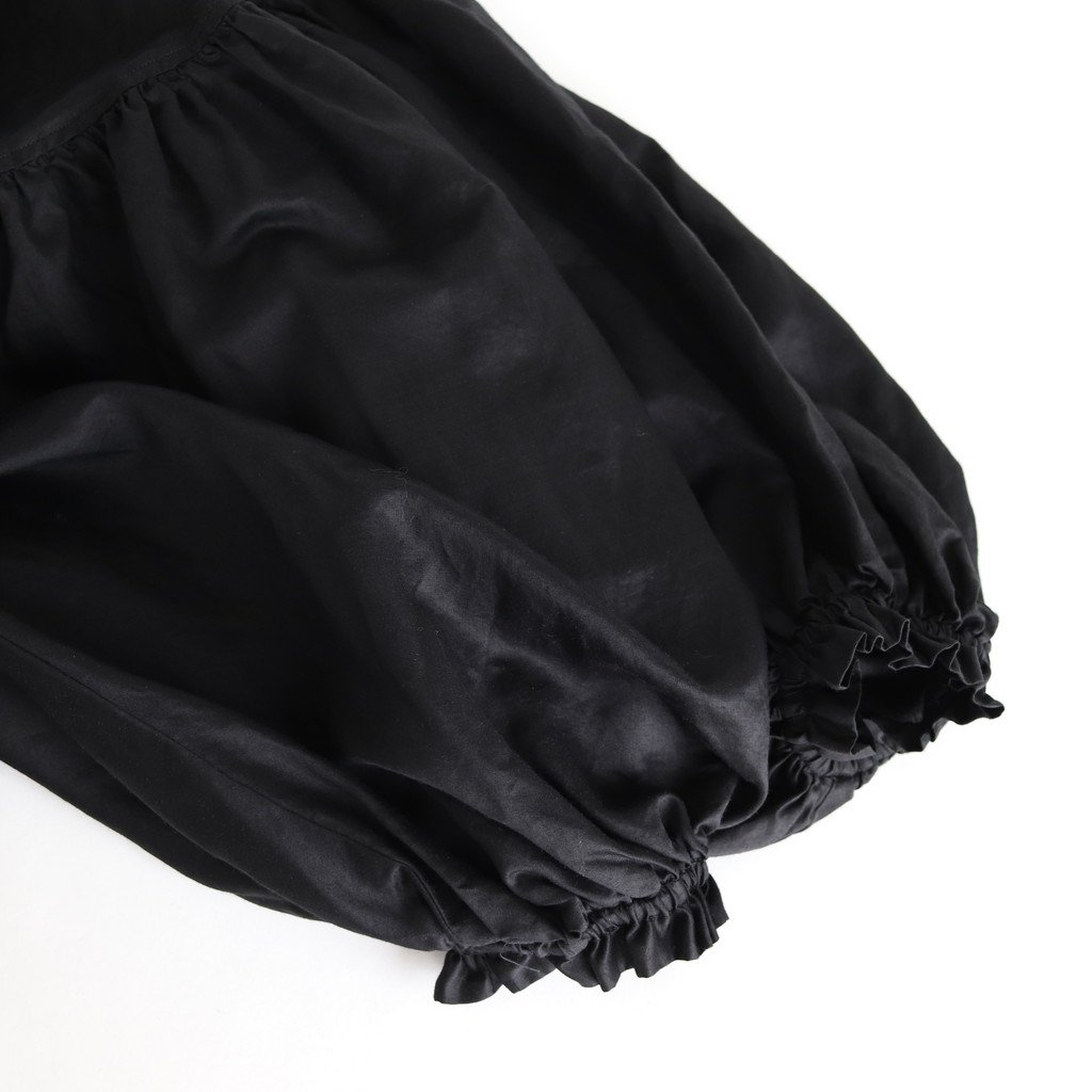 ラミーコットンツイル ギャザースリーブブラウス #BLACK [201-617]