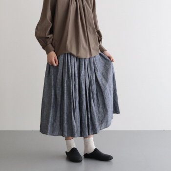 CHAMBRAY GATHER SKIRT #NAVY [no.4250] _ R&D.M.Co- OLDMAN'S TAILOR | オールドマンズテーラー