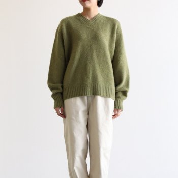 R&D.M.Co- OLDMAN'S TAILOR | オールドマンズテーラー - SHAGGY V NECK SWEATER #MOSS GREEN [no.4431]