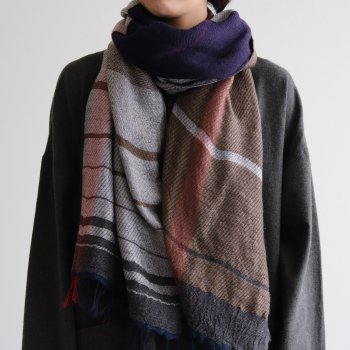 tamaki niime | 玉木新雌 - ROOTS SHAWL MIDDLE WOOL70% COTTON30% #G [21A-RSM007]