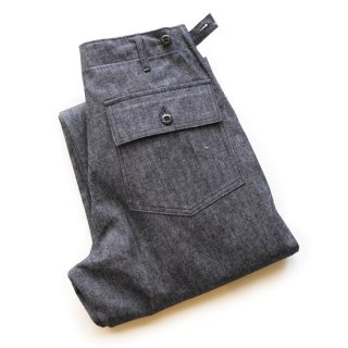WAREHOUSE LOT1086 INDIGO HERRINGBONE MILITARY PANTS