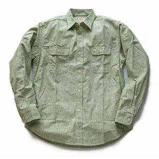 SUGAR CANE PIN CHECK GREEN WORK SHIRT