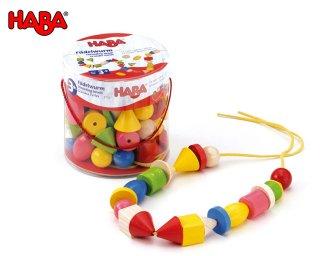 [3歳-]カラービーズ・6つの形〈紐通し・木のおもちゃ〉HABA