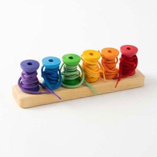 [1歳-]虹のボビン〈紐通し・棒通し・木のおもちゃ〉Grimms