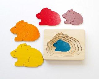 [2歳-]ステップパズル・うさぎ〈木製入れ子パズル〉George Luck
