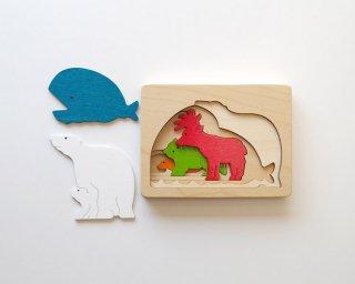 [3歳-]ピープパズル・しろくま〈木製入れ子パズル〉George Luck