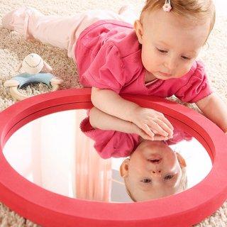 [0歳 3ヶ月-]ラウンドミラー〈赤ちゃんの鏡〉Commotion House