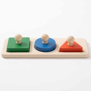 [1歳-]シェープマッチングパズル〈木製はめこみ図形〉PLANTOYS
