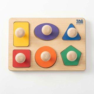 [1歳半-]握りやすい取っ手のついた形パズル〈木製はめこみ図形〉TAG