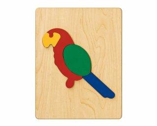 [2歳-]どうぶつパズル おうむ〈木製はめこみパズル 4分割〉TAG