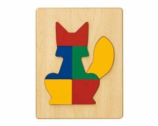 [2歳-]どうぶつパズル きつね〈木製はめこみパズル 6分割〉TAG