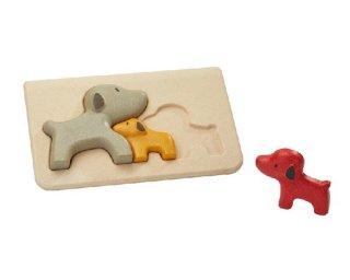 [2歳-]イヌのパズル〈木製はめこみパズル 3分割〉PLANTOYS