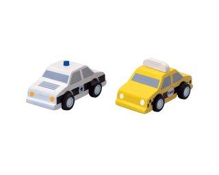 [3歳-]タクシーとパトカー〈車のおもちゃ〉PLANTOYS