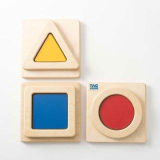 [2歳-]色と形の触覚板 〈木製パズル〉TAG