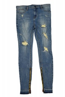 CLASH STRETCH ZIP JEANS BLUE