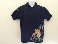 絡繰魂 「菊に鳳凰刺繍半袖ポロシャツ」