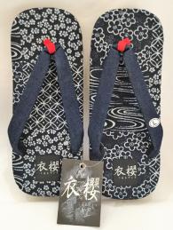 衣櫻 奈良雪駄サンダル「藍パッチワーク」