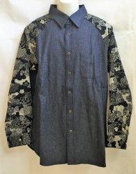 衣櫻「8ozデニム×藍染調着物柄切替ラグランスリーブシャツ」