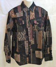 衣櫻 長袖ウエスタンシャツ「大島紬調クレイジーパターン」