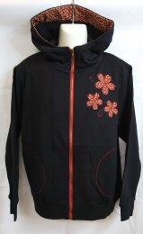 華鳥風月「桜和生地スウェットボリュームパーカー」ブラック