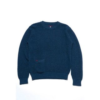 HEATHER COTTON WAFFLE CREW NECK SWEATER 【BLUE BLUE(ブルーブルー)】 通販