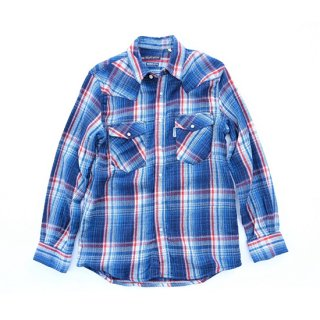 <img class='new_mark_img1' src='//img.shop-pro.jp/img/new/icons16.gif' style='border:none;display:inline;margin:0px;padding:0px;width:auto;' />Indigo Soft Canvas Check Western Shirt【BLUE BLUE(ブルーブルー)】 通販