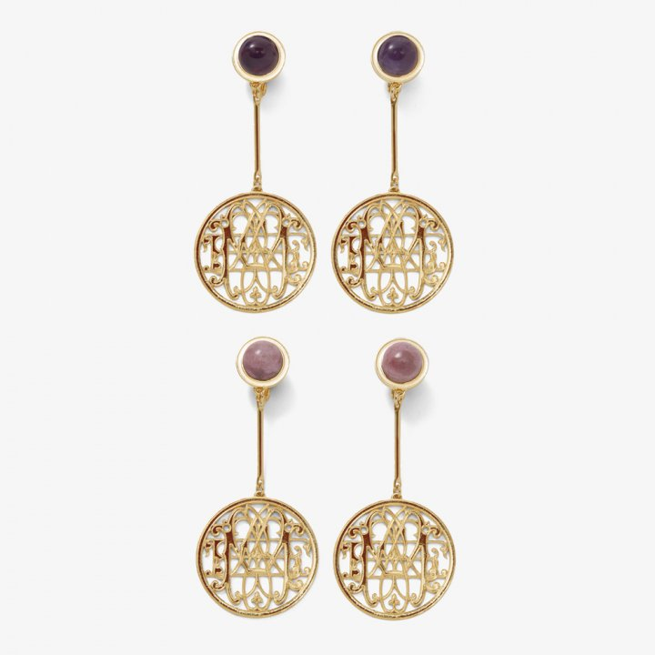MARTE Logo Stone Earrings / Pierce