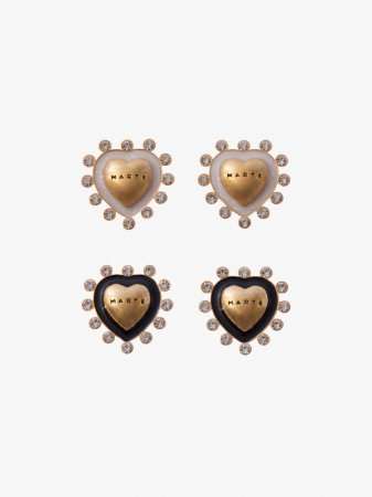 MARTE Heart Crystal Logo Earrings