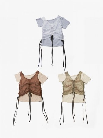 <img class='new_mark_img1' src='//img.shop-pro.jp/img/new/icons38.gif' style='border:none;display:inline;margin:0px;padding:0px;width:auto;' />MARTE Gathering Sheer Vest Layered T-Shirt