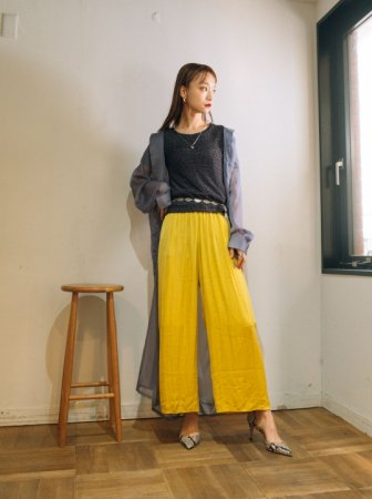 Silky Pants (Mustard/Light Blue)