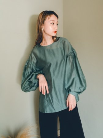 <img class='new_mark_img1' src='//img.shop-pro.jp/img/new/icons5.gif' style='border:none;display:inline;margin:0px;padding:0px;width:auto;' />Sheer Drop Shoulder Tops(Green/Black/Gray/Khaki)