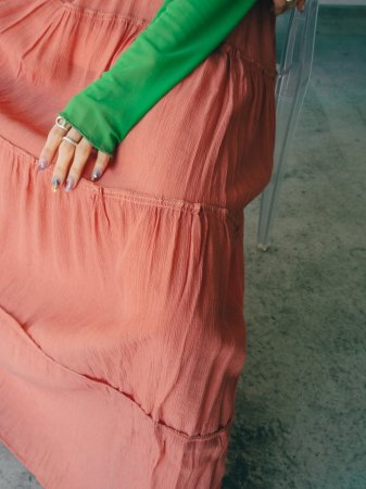 Sheer Gather Long Skirt