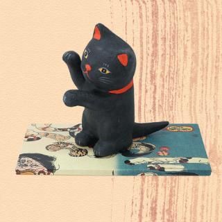 Ukiyo-e Cat kuro / maneki 「浮世絵猫 くろ/まねき」